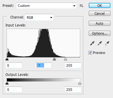 Adjusting levels in Photoshop.