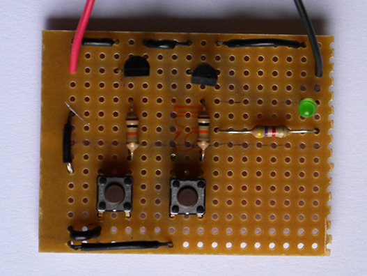 AND gate soldered onto stripboard.