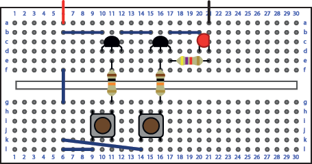And gate Breadboard layout