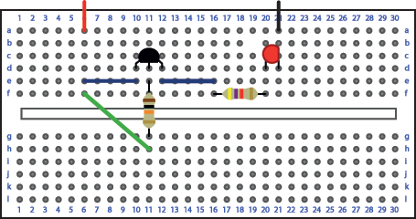 Breadboard layout for simple transistor switch.
