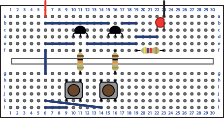 Or gate Breadboard layout