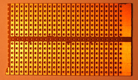 Stripboard with similar connections to a breadboard.