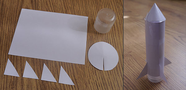 Paper rocket parts and completed