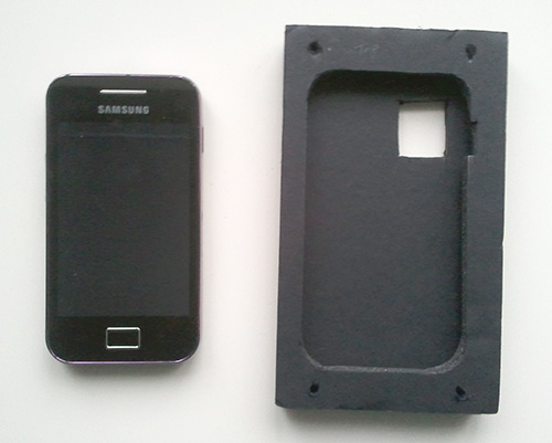 Chosen phone (Samsung Galaxy Ace) and case made from foam board (note the opening for the camera)