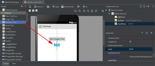 Adding the label and setting its default text