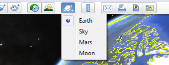 Switching Google Earth to the Moon view.
