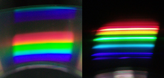 Two sample spectra reflected off a CD. Sunlit clouds (left) and desktop lamp (right)