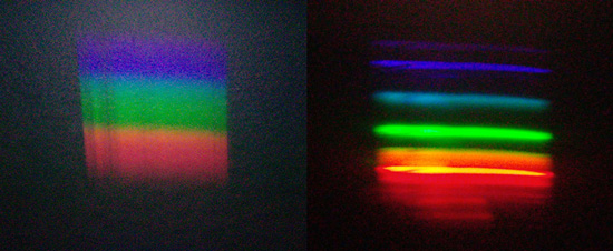 Two sample spectra diffracted through a CD. Sunlit clouds (left) and desktop lamp (right)