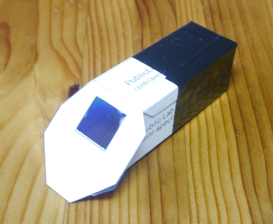Spectroscope built from folded card and diffraction sheet