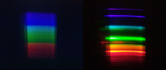 Two sample spectra diffracted through a sheet. Sunlit clouds (left) and desktop lamp (right)