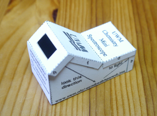 Spectroscope built from folded card and CD sliver