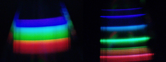 Two sample spectra diffracted reflected off of a CD. Sunlit clouds (left) and desktop lamp (right)